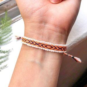 Jewelry - $4 BUNDLED❥ Neon Orange/White Boho Woven Bracelet